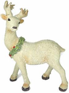 Posing Reindeer Holly Wreath Winter Figurine Deer Antlers Snow Berries Sparkle