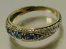 R078- SOLID 9K Gold NATURAL Sapphire 5-stone Etched ETERNITY Wedding Ring size N