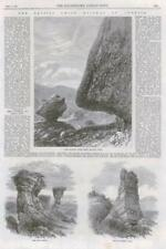 1869 Antique Print - UNITED STATES UTAH ECHO CANYON HANGING ROCK DIAL ROCKS (091