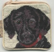 CLEARANCE..LABRADOR PUP BLACK Dog Needlepoint Mini Purse Zippered Shoulder Bag