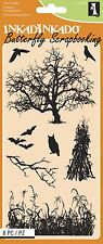 HALLOWEEN FIELDS Set Clear Unmounted Rubber Stamp Set INKADINKADO 60-31289 NEW