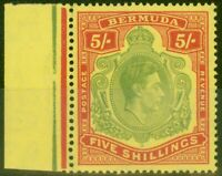Bermuda 1945 5s Green & Red-Pale Yellow SG118e V.F Very Lightly Mtd Mint