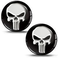 2 Resinati 3D Adesivi The Punisher Skull Cranio Teschio Logo Nero Auto Moto KS 1