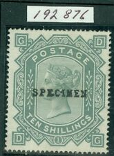 SG 128 10/- Greenish Grey, Overprinted specimen. Type 9 fresh colour & well cen