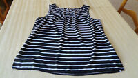 A.N.A. Womens Top Black/White Stripes Size XLarge Sleeveless Scoop Neck - SHEER