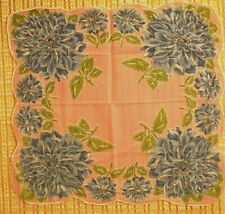 Vintage Linen Hankie - Pink w/ Blue Floral Print - scalloped edges - Flawless!