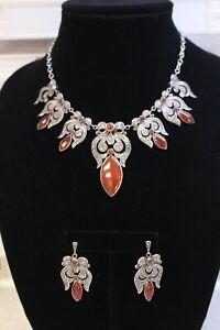Fine 925 Silver Carnelian and Marcasite Jewelry Necklace Dangling Earrings