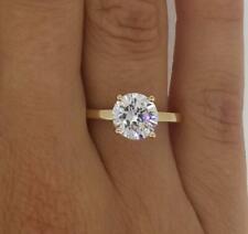 1.5 Carat Round Cut Diamond Engagement Ring VS1/F Yellow Gold 14k 6125