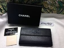 never been used Chanel Wallet Box black caviar leather flap silver hard ware