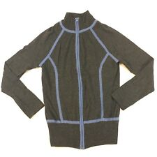 Soma Size Small Sweater Top Shirt Cashmere Blend Full Zip Grey Blue So Soft