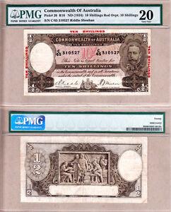 1934 10/ KGV Commonwealth of Australia. PMG VF20. Renniks R10