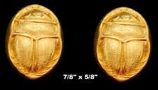 Vintage Brass Stamping / Embossed Scarab /Egyptian Revival /2 Pcs.