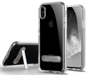Silver & Clear Soft Silicone Kick Stand Case Cover Apple iPhone 6 7 8 X Plus XS