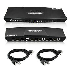 TESmart 4 port KVM HDMI Switch HDMI support contrl 4 PC with 2 Pcs .5m Cable