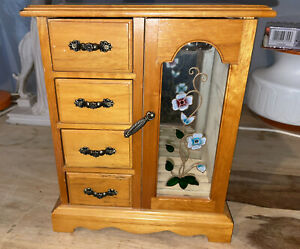 LOVELY BROWN WOODEN JEWELLERY BOX LIGHT WOOD 4 DRAWERS & GLASS DOOR