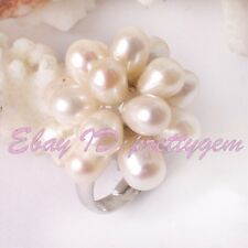 4-5x6-7mm Natural Oval Freshwater Pearl Gemstone White Gold Plaeted Rings 1 Pcs