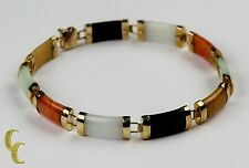 Gorgeous 10k Yellow Gold Multi-color Jade Station Bracelet! Beautiful Jewelry
