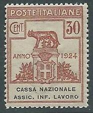 1924 REGNO PARASTATALI CASSA NAZ LAVORO 30 CENT VARIETà O ROTTA MNH ** - M45