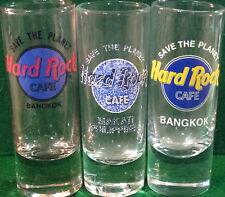 """Hard Rock Cafe Bangkok 4"""" Shot Glass Set 3 """"Stp"""" Save The Planet Hrc Logo Rares!"""