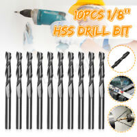 10Pcs 1/8'' Flutes Carbide End Mill Set Tungsten Steel Milling Cutter Tool