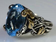 Barbara Bixby Vine & Leaf Sterling Silver 18k Gold Huge BLUE TOPAZ Ring Sz 6