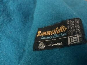 sommeild'or TEAL BLUE 100% WOOL TWIN/FULL LUXURY BLANKET ~vintage military style