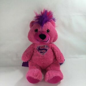 "Superman Supergirl Pink Teddy Bear Plush DC Comics 16"" Hero Stuffed Animal Toy"