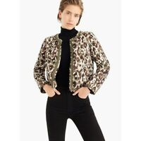 J. Crew Quilted Lady Jacket in Autumn Cheetah XXL Style J9370 MSRP $210
