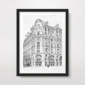 PARIS BUILDINGS ARCHITECTURAL DRAWING ART PRINT Poster Home Decor A4 A3 A2