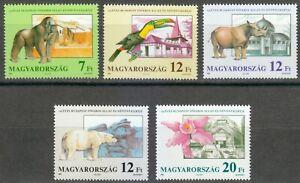 Hungary 1991 MNH Mi 4136-4140 Sc 3288-3292 Gorilla,Rhinoceros,Orchid,Toucan,Bear