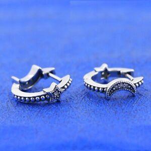 New S925 Sterling Silver Jewelry, Crescent Moon & Stars Beaded Hoop Earrings CZ
