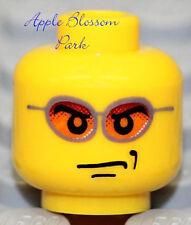 NEW Lego Male Boy MINIFIG HEAD - Orange Sun Glasses Police Agents Pilot officer