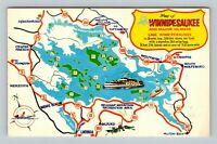 Lake Winnipesaukee Map Mount Washington Tour Boat, Chrome New Hampshire Postcard