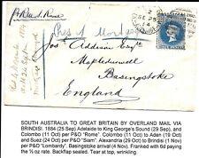 S. AUSTRALIA 1884 ADELAIDE TO BASINGSTOKE COVER PER R.M..S.ROME.