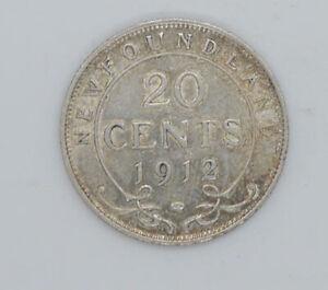 1912 Newfoundland 20 cents coin  AU condition