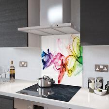 Rainbow Smoke on White Toughened Glass Splashback Resistant to 500°C
