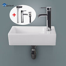 Bathroom Ceramic Vessel Sink Wall Mount Vanity Rectangle Porcelain Faucet White
