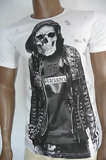 Herren T-Shirt BLACKROCK Skull Totenkopf Totenschädel Kurzarm weiß Gr. S