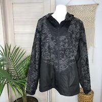 Zella Men's Heathered Grey Colorblock Hooded Black Windbreaker Jacket Size XL