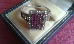 Ladies 925 Silver Amethyst & Cubic Zirconium Ring UK R 1/2 - S USA 9 Hallmarked