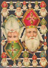 NICHOLAS SAINT CHRISTMAS SCRAP SHRINE BUST HEAD BISHOP GERMANY EMBOSSED PAPER