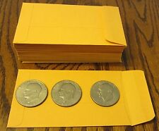 "50 NEW KRAFT COIN CHANGE ENVELOPES SIZE 3.125"" X 5.5"" SEED JEWELRY PARTS #5 1/2"