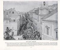 1897 Vittoriano Stampa Principale Street British Truppe Gibilterra Forti ( Testo