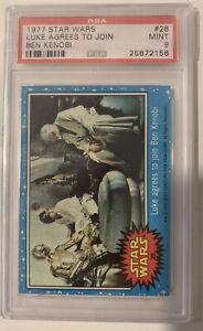1977 Star Wars #28 Luke agrees to join Ben Kenobi - PSA 9 Mint!