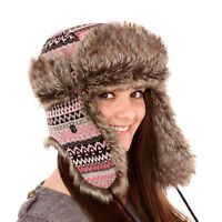 LADIES PINK GREY KNITTED FUR INCA STYLE TRAPPER HAT & POM POMS WARM WINTER NEW