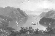 Hudson River, WEST POINT MILITARY ACADEMY ~ 1838 Landscape Art Print Engraving