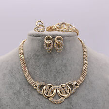 Fashion Lady Crystal Gold Pendent Necklace Earrings Bracelet Ring Set Jewelry