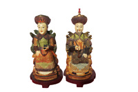 "Set Of 2 Mandarin Chinese Resin Figurines Man Woman 10"" Tall"