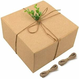 Moretoes Brown Gift Boxes Kraft Boxes 15 Pack 8x8x4 Inches Paper Gift Cardboa...