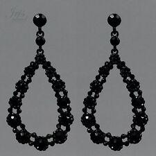 Black Alloy Jet Crystal Rhinestone Hoop Drop Dangle Earrings 00456 Prom Party